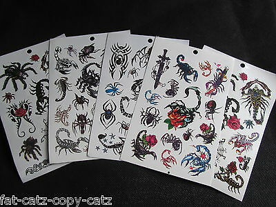 5 Sheets Boys Mens Scary Scorpion Insect Spider Temporary Tattoos Party Loot Bag