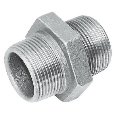 """MI280-34 FTM Malleable Iron Fittings 3//4/""""  BSPT EQUAL MALE HEX NIPPLE GALV"""