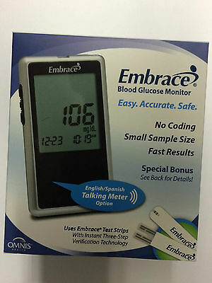 Embrace Blood Glucose Monitoring System Talking Meter No Coding Requred