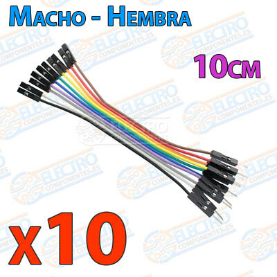 10 Cables 10cm Macho Hembra jumper dupont 2,54 arduino protoboar cable