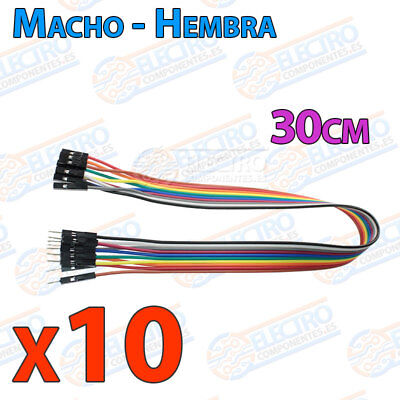 10 Cables 30cm Macho Hembra jumper dupont 2,54 arduino protoboar cable