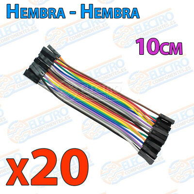 20 Cables 10cm Hembra Hembra jumper dupont 2,54 arduino protoboar cable