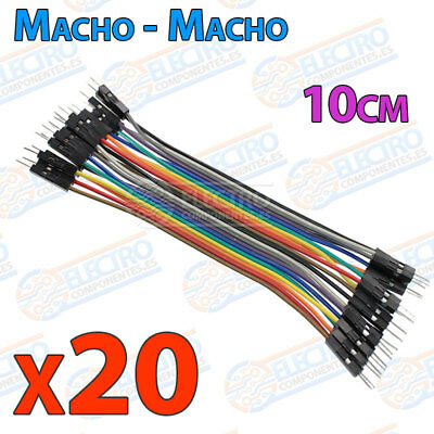 20 Cables 10cm Macho Macho jumper dupont 2,54 arduino protoboar cable