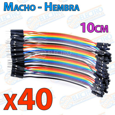 40 Cables 10cm Macho Hembra jumper dupont 2,54 arduino protoboar cable