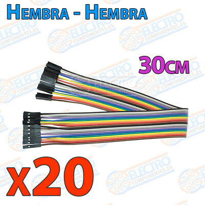 20 Cables 30cm Hembra Hembra jumper dupont 2,54 arduino protoboar cable