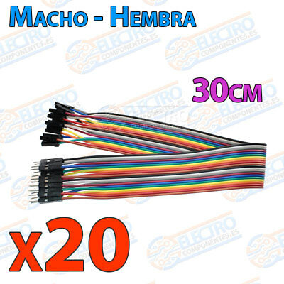 20 Cables 30cm Macho Hembra jumper dupont 2,54 arduino protoboar cable