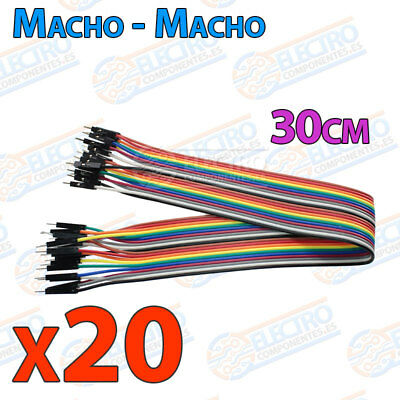 20 Cables 30cm Macho Macho jumper dupont 2,54 arduino protoboar cable