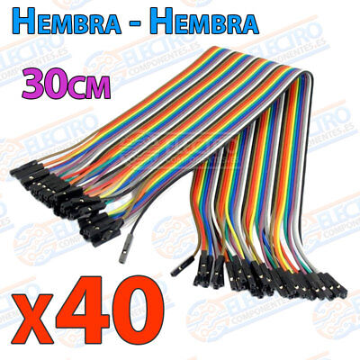 40 Cables 30cm Hembra Hembra jumper dupont 2,54 arduino protoboar cable