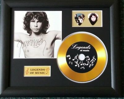 Jim Morrison The Doors Preprinted Autograph, Gold Disc & Plectrum Presentation