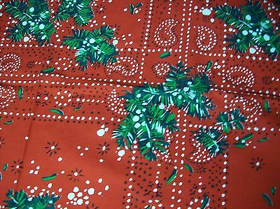 Vintage Bright Red & Green Printed Christmas Tablecloth & 8 Napkins