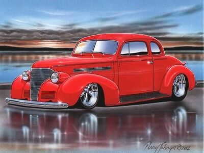1939 Chevy Coupe Streetrod Car Art Print Red 11x14 Poster