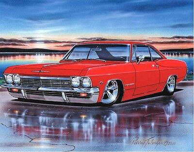1965 Chevy Impala SS Hardtop Muscle Car Art Print Red 11x14 Poster