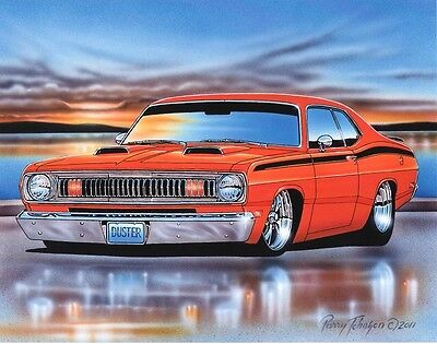 1970 1971 1972 Plymouth Duster Muscle Car Art Print Orange 11x14 Poster