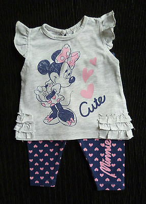 Baby clothes GIRL 0-3m Disney outfit Minnie Mouse grey top/pink heart leggings