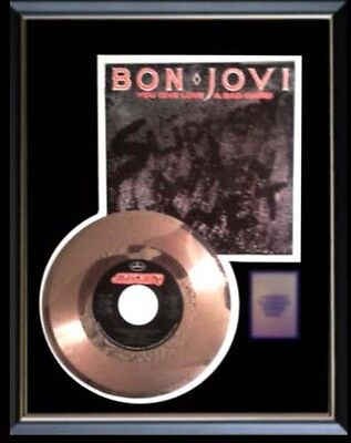 Bon Jovi You Give Love A Bad Name Rare Gold Record Disc & 45 Rpm Sleeve