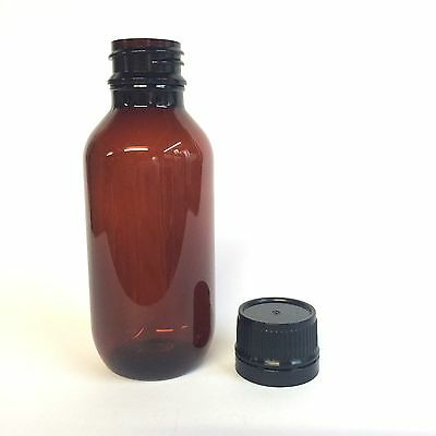 100ml Amber PET Bottle with Black Cap - Pack 24