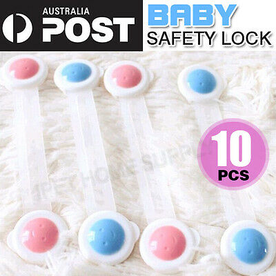 10X Safety Door Lock Fridge Drawer Toilet Cupboard Cabinet for Baby Kids Child