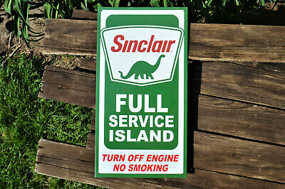 Sinclair Gasoline Full Service Island Tin Metal Sign - Dino - Dinosaur - Oil Gas