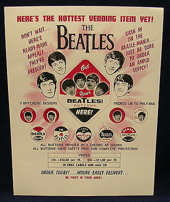 BEATLES ORIGINAL Vendor flier 1964 button promo RARE mint condition