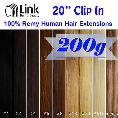 """20"""" Premium Clip In Remy Human Hair Extension (Extra Thick)  Black Brown Blonde"""