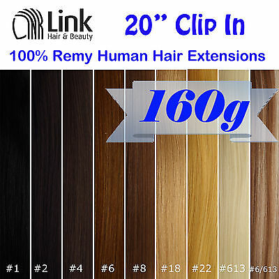 """20""""CLIP IN REMY HUMAN HAIR EXTENSION Brown Blonde Black"""