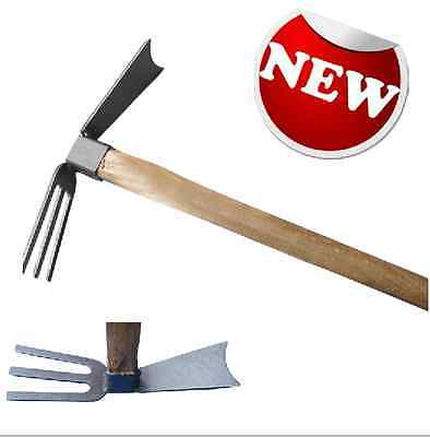 Gardening Tools Hand Hoe Cultivator - 3 prongs gardening hoe with wood handle