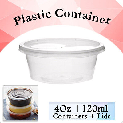 200 Pcs - 100 Containers + 100 Lids (4Oz 120ml) Round Sauce Take Away Containers