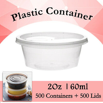Take Away Containers Round Sauce 1000Pcs - 500 Containers + 500 Lids 2Oz (60ml)