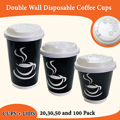 Disposable Paper Coffee Cups Black Double Wall Cups + Lids 20,30,50,100 Pack