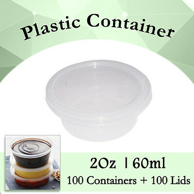 Disposable Plastic Takeaway Sauce Containers 100 Containers + 100 Lids:2 Oz 60ml