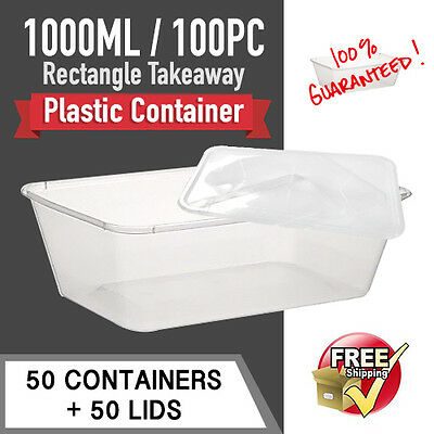 Take Away Containers 50 Pc & Lids 50 Pc 1000Ml Disposable Plastic Food Container