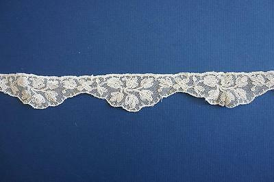 Antique Vintage Embroidered Lace 3cm Ecru Off White For Dress / Doll  1m length