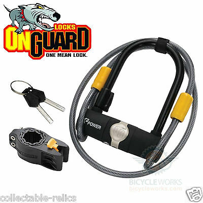 OnGuard Bicycle U-Lock Shackle Keyed 90 x 140mm With 120cm X 10mm Cable Bike 810