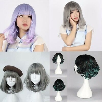 Mode Femmes Cheveux Courts Boucle Wig Cosplay Party Perruque Coiffure 4 Styles