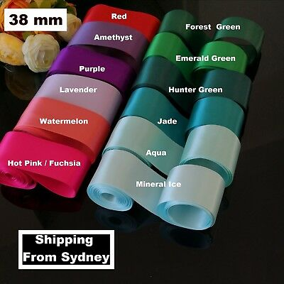 SATIN Wedding Car Ribbon 38 MM X 6 Mtr Double Face FLAT PACKED free postage