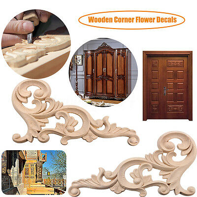 20*10cm Wood Carved Corner Onlay Applique Frame Decor Furniture Craft Unpainted