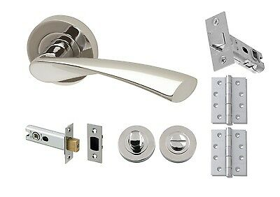 Modern Polished Chrome Rose Lever Door Handle - Zeta