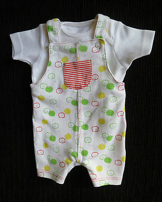 Baby clothes UNISEX GIRL BOY premature/tiny<7.5lb/3.4k bright dungarees/bodysuit