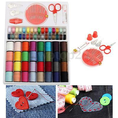 100pcs Sewing Kit Measure Scissor Thimble Thread Needle Tape Travel Storage Box