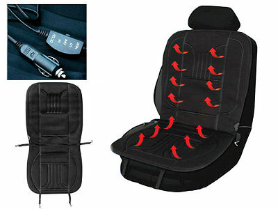 Universal Black 12V Plug In Electric Heated Car Truck Van Seat Cover Winter Use