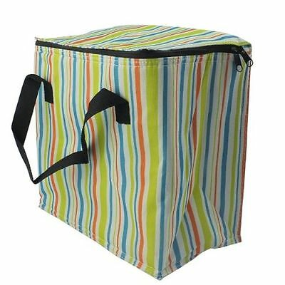 Multi Colour Large Stripe Insulated Ice Cool Bag Stripy  Outdoor Picnic Camping
