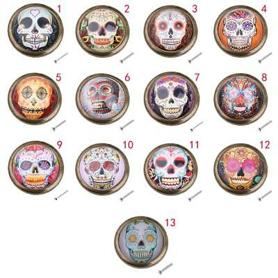 Round Skull Cupboard Closet Window Knob Drawer Door Wardrobe Cabinet Pull Handle