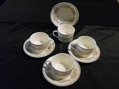4 Vintage Coalport Teacup & Saucers in the April Pattern