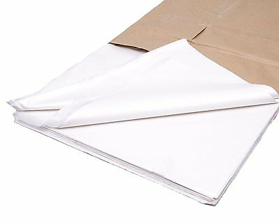 "200 x SHEETS OF WHITE ACID FREE TISSUE PAPER 450 x 750mm 18gsm 18"" x 28"""
