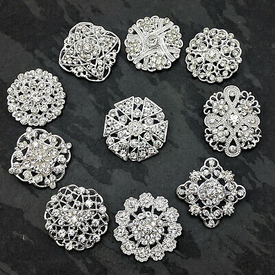 Wedding Silver Colour Brooches Crystal Rhinestones Diamante Gold Pearl