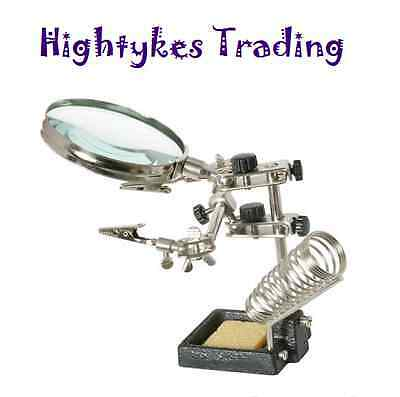90mm HELPING HANDS SOLDERING solder STATION MAGNIFIER with crocodile clips