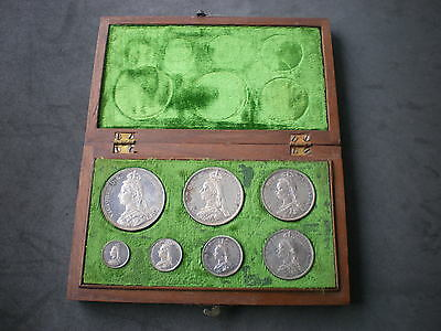 Victoria 1887 Jubilee Head Seven 7 Coin Silver Proof Set Crown-Threepence