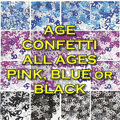BIRTHDAY GLITZ PARTY TABLE CONFETTI PINK BLUE or BLACK AGES 13 -100