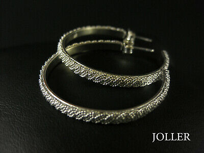 HOOP EARRINGS XL 37mm FILIGREE HANDMADE SILVER 925 PLATINUM BY JOLLER
