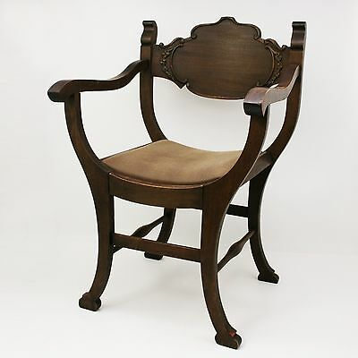 Vtg Wood Arm Chair Cushioned Upholstery Antique Victorian Carved Accent Seat
